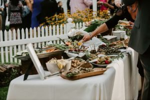 wedding food buffet and grazing tables